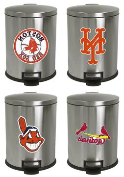 1.3 Gal Stainless Steel Oval Step Can Wastebasket MLB Team L