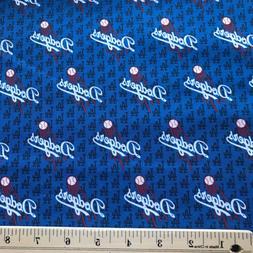 1/4 Yard Los Angeles LA Dodgers Mini Logo MLB Fabric 100% Co