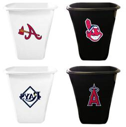 5.5 Gal Trash Can White or Black Plastic with MLB Baseball T