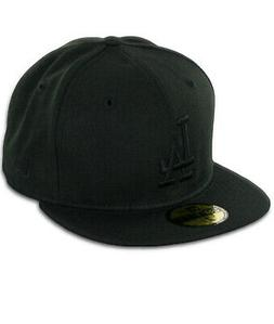 """New Era 59Fifty Los Angeles LA Dodgers """"Blackout"""" Fitted Hat"""