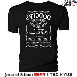 Los Angeles Dodgers T-Shirt Whiskey Graphic LA LAD Men Cotto