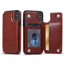 Fits iPhone X/8/7/Plus/S9+ Phone Case Leather Card Buckle Wa