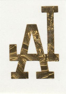 GOLD LEAF Los Angeles Dodgers 2 inch helmet decal sticker RT
