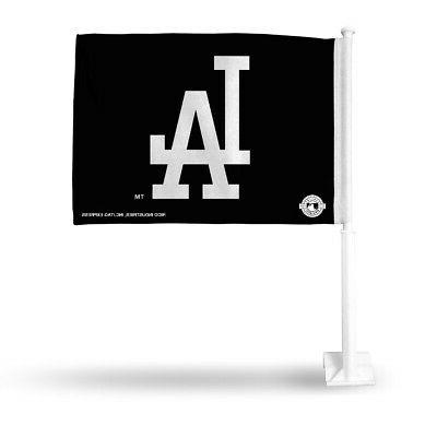 los angeles dodgers black car flag