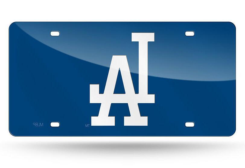 LOS ANGELES DODGERS BLUE LASER CUT MIRROR CAR TAG LICENSE PL