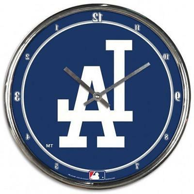 los angeles dodgers chrome round wall clock