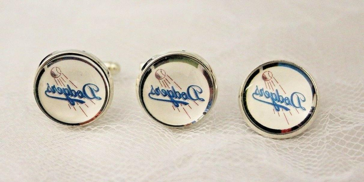 los angeles dodgers cufflinks and tie tack
