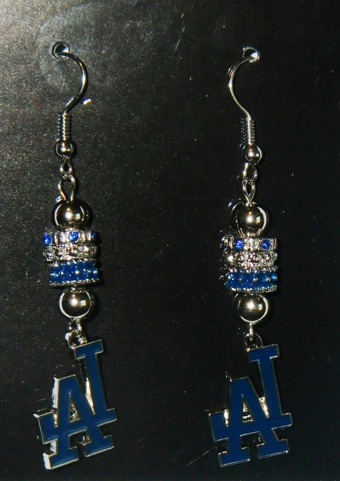 los angeles dodgers dangle earrings euro bead