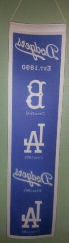 Los Angeles Dodgers Flag Banner Felt 8X32 in. Logos Team Gen