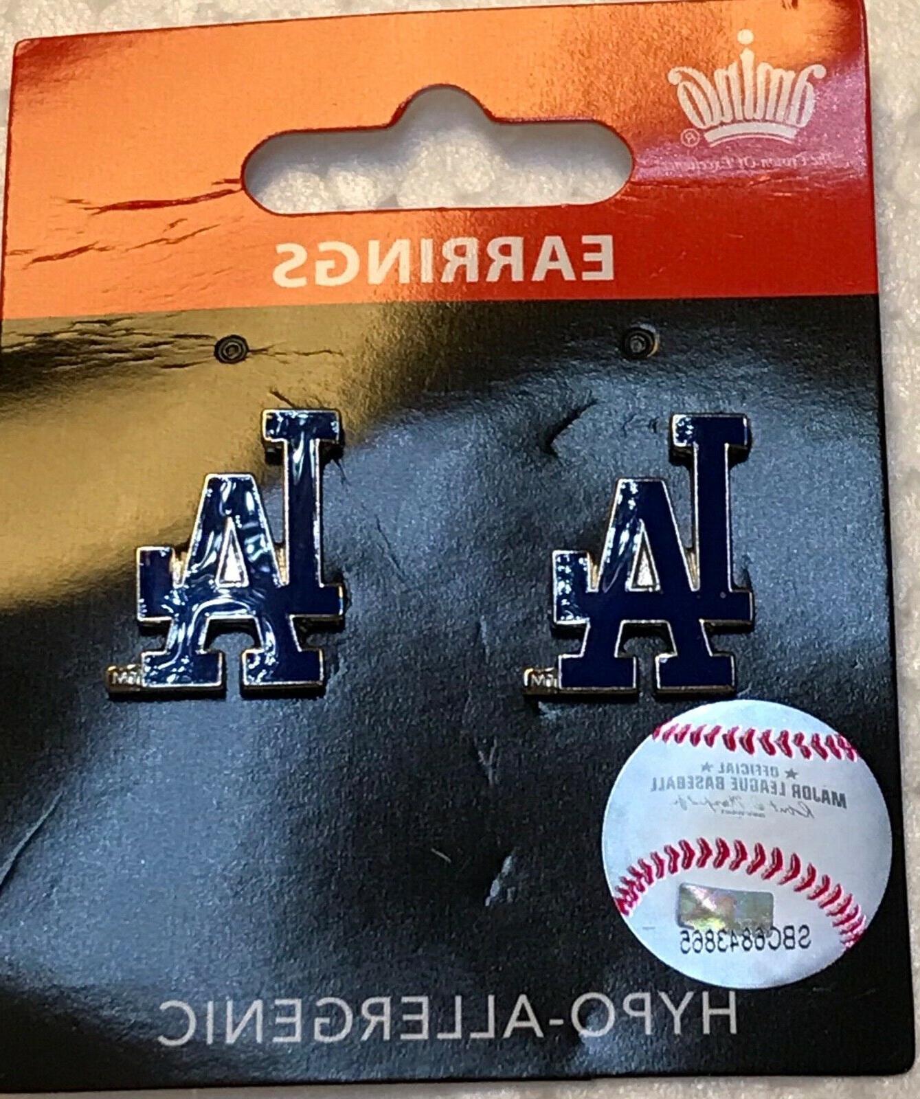 los angeles dodgers logo stud post earrings