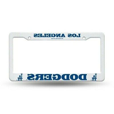 los angeles dodgers white plastic license plate