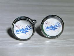 LA Dodgers Cufflinks made from Recycled Baseball Cards, Gift