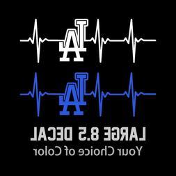 LA Dodgers Heartbeat Vinyl Decal/Sticker Large 8.5 Inch - Lo