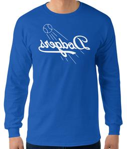LA Dodgers Los Angeles BLUE long sleeve T-Shirt white Logo C