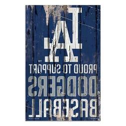 """Los Angeles Dodgers 11""""x17"""" Proud to Support Wood Sign  MLB"""