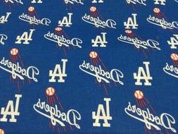"Los Angeles Dodgers 60"" Wide Cotton Fabric By The Yard By Th"