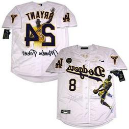 Los Angeles Dodgers #8 #24 Kobe Bryant White Cool Base Jerse