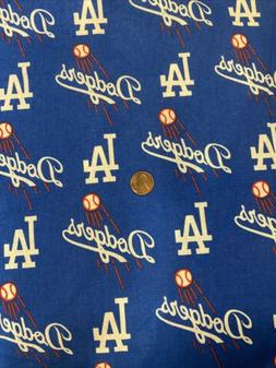 LOS ANGELES DODGERS Baseball Fabric 1/2 Yard  100% Cotton Fa
