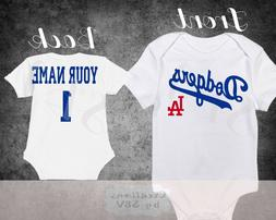 Los Angeles Dodgers Baseball Homemade baby bodysuit.