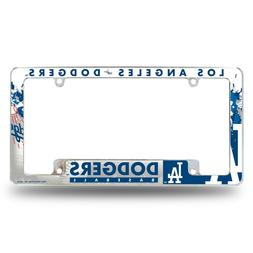 Los Angeles Dodgers Chrome ALL OVER Premium License Plate Fr
