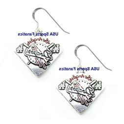 Los Angeles Dodgers Diamond Style Earrings With 925 Sterling