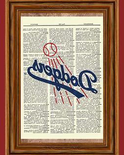 Los Angeles Dodgers Dictionary Art Print Poster Baseball Col