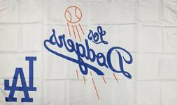 Los Angeles Dodgers Flag 3x5 ft White Sports Banner MLB Man-