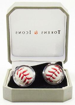 Los Angeles Dodgers Game Used Baseball Cuff Links - Tokens &