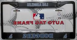 Los Angeles Dodgers LA BLACK Metal Chrome License Plate Tag