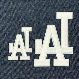 LOS ANGELES DODGERS LA LOGO JERSEY IRON ON PATCH SET WHITE 3