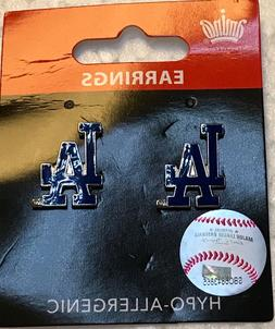 Los Angeles Dodgers Logo Stud Post Earrings NEW HYPO ALLERGE