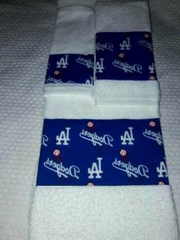 Los Angeles Dodgers  MLB 3 Piece Bath Towel Set Handmade Gre
