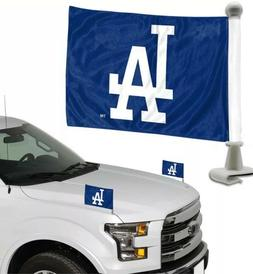 Los Angeles Dodgers MLB Ambassador Car Flags Hood Trunk Set