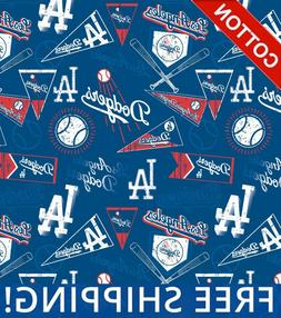"Los Angeles Dodgers MLB Cotton Fabric - 58"" Wide - Style# 14"