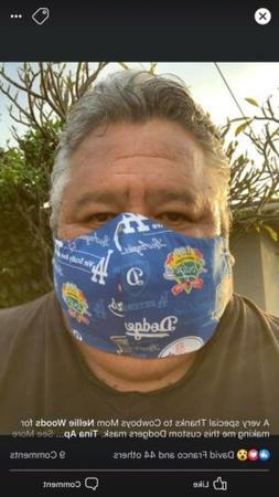 LOS ANGELES DODGERS MLB Face Mask Handmade 100% Cotton Washa