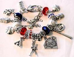 """Los Angeles Dodgers MLB Handmade Charm Bracelet 6 3/4"""" Adjus"""