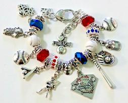 "Los Angeles Dodgers MLB Handmade Charm Bracelet 6 3/4"" plus"