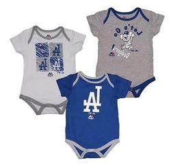 "Majestic Los Angeles Dodgers MLB Infant ""Go Team"" 3-Pack Bod"