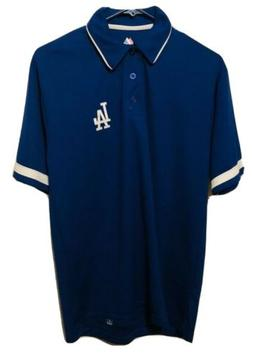 Los Angeles Dodgers MLB Men's Majestic Athletic Blue Polo Sh