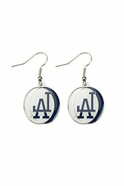 Los Angeles Dodgers MLB Tri Color Silver Dangle Earrings