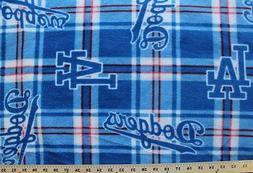 Los Angeles Dodgers Plaid MLB Baseball Print Fleece Fabric b