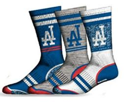 Los Angeles Dodgers Socks 3 Pack Crew Length MLB Baseball Fi