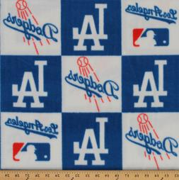 Los Angeles Dodgers Square MLB Baseball Print Fleece Fabric