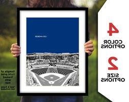 LOS ANGELES DODGERS Stadium Skyline Print 8x10 or 11x14 - Ba