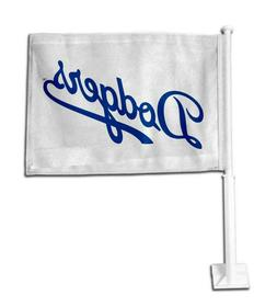 LOS ANGELES DODGERS WHITE CAR FLAG DOUBLE SIDED