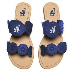 Los Angeles Dodgers Women's Double Strap Whip Stitch Sandals