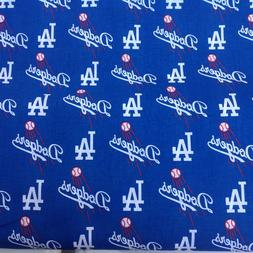 "Los Angeles LA Dodgers 100% Cotton Fabric 18"" x 29 "" Basebal"