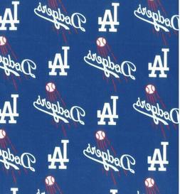 Los Angeles LA Dodgers 100% Cotton Fabric -1/2 Yd -BTHY- Bas
