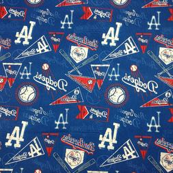 "Los Angeles LA logo Dodgers 100% Cotton Fabric 18"" x 29 "" Ba"