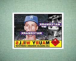 Maury Wills Los Angeles Dodgers 1960 Style Custom Art Card